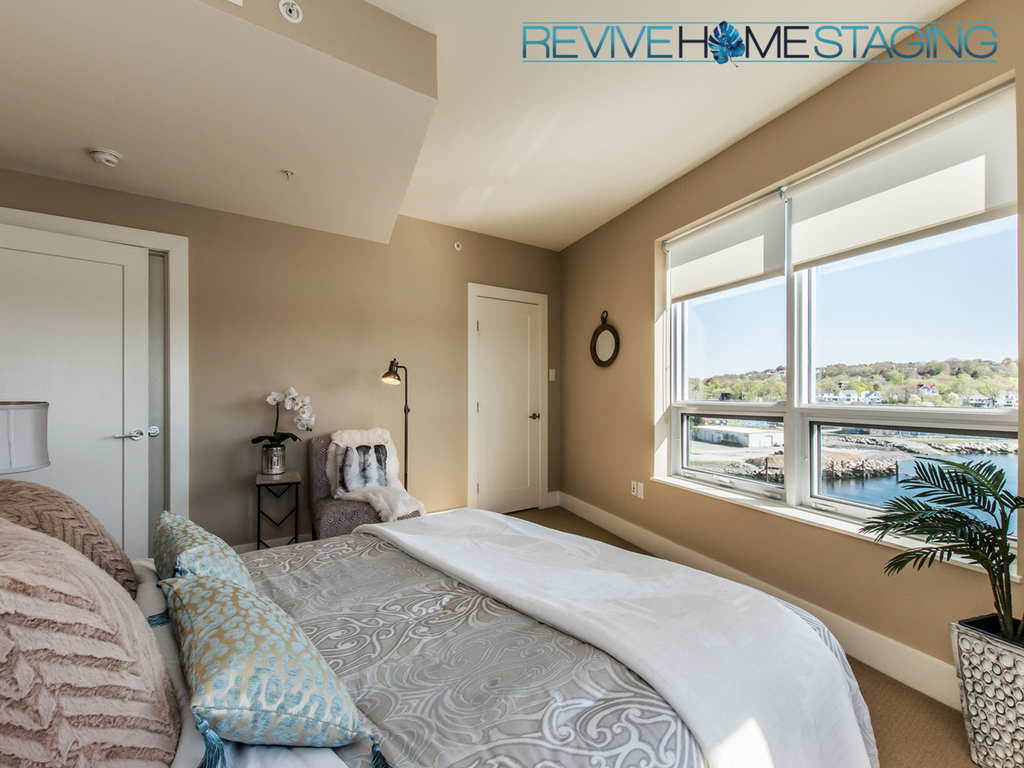 67-Kings-Wharf-Condos-unit-602-Dartmouth-NS-Revive-Home-Staging-Pam-MacKinnon-Expert-Home-Stager-Real-Estate-Halifax-NS-Master-Bedroom-Water-Views-3