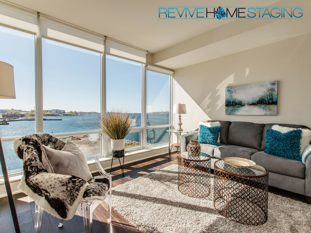 67 Kings Wharf Condos unit 602 Dartmouth, NS Revive Home Staging Pam MacKinnon Expert Home Stager Real Estate - Halifax, NS - Living Room 2
